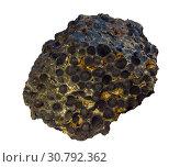 Купить «Sample of iron ore magnetite isolated on white background», фото № 30792362, снято 17 мая 2019 г. (c) Евгений Харитонов / Фотобанк Лори