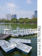 Купить «Rental boats, lake, Lumphini Park, Pathum Wan district, Bangkok, Thailand.», фото № 30793862, снято 4 февраля 2019 г. (c) age Fotostock / Фотобанк Лори