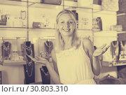 Купить «Woman buying accessorizes», фото № 30803310, снято 21 мая 2019 г. (c) Яков Филимонов / Фотобанк Лори