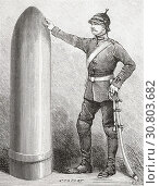 Купить «A projectile from an A 52 foot Krupp cannon, shown in comparison with a soldier. From Ilustracion Artistica, published 1887.», фото № 30803682, снято 27 февраля 2019 г. (c) age Fotostock / Фотобанк Лори