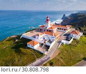Купить «Cabo da Roca with lighthouse, Portugal», фото № 30808798, снято 21 апреля 2019 г. (c) Яков Филимонов / Фотобанк Лори