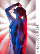 Купить «Woman in the nude against bright background», фото № 30810294, снято 1 мая 2019 г. (c) Гурьянов Андрей / Фотобанк Лори