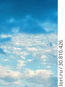 Купить «Sky background with colorful cumulus clouds», фото № 30810426, снято 3 июня 2015 г. (c) Зезелина Марина / Фотобанк Лори