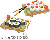 Realistic picture set of sushi and roll with chopsticks. Стоковая иллюстрация, иллюстратор Ирина / Фотобанк Лори