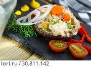 Купить «Chicken salad served on eggplant», фото № 30811142, снято 23 июля 2019 г. (c) Яков Филимонов / Фотобанк Лори