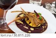 Купить «Lamb ribs with aubergine and wine sauce», фото № 30811226, снято 21 июля 2019 г. (c) Яков Филимонов / Фотобанк Лори