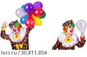 Купить «Funny male clown isolated on white», фото № 30811854, снято 22 июля 2019 г. (c) Elnur / Фотобанк Лори