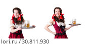 Купить «Bavarian girl with tray on white», фото № 30811930, снято 25 января 2013 г. (c) Elnur / Фотобанк Лори
