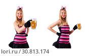 Купить «Young waitress with beer on white», фото № 30813174, снято 28 января 2013 г. (c) Elnur / Фотобанк Лори