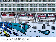 Купить «Multiple deck of Cruise Liner Norwegian Jewel with lifeboats aboard ship», фото № 30818270, снято 10 мая 2019 г. (c) А. А. Пирагис / Фотобанк Лори