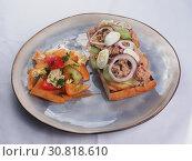 Купить «Meat Sandwich with cucumbers and egg», фото № 30818610, снято 27 марта 2019 г. (c) Алексей Кокорин / Фотобанк Лори