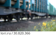 Купить «Close-up of a wheeled pair (wheeled cart) of a freight railway train», видеоролик № 30820366, снято 17 сентября 2018 г. (c) Mikhail Erguine / Фотобанк Лори