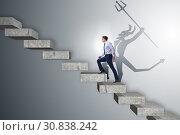 Купить «Businessman with alter ego climbing career ladder», фото № 30838242, снято 16 октября 2019 г. (c) Elnur / Фотобанк Лори