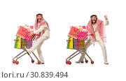 Купить «Arab man doing shopping isolated on white», фото № 30839494, снято 18 июня 2015 г. (c) Elnur / Фотобанк Лори