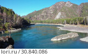 Купить «Altai natural landscape of altai river Katun and rocky island with pine tree», видеоролик № 30840086, снято 11 мая 2019 г. (c) Serg Zastavkin / Фотобанк Лори