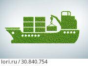 Купить «Green environmentally friendly vehicle concept - 3d rendering», фото № 30840754, снято 18 августа 2019 г. (c) Elnur / Фотобанк Лори