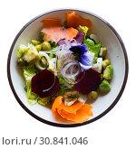 Купить «Salad with lettuce, endive, palms hearts, avocado and radish», фото № 30841046, снято 26 августа 2019 г. (c) Яков Филимонов / Фотобанк Лори