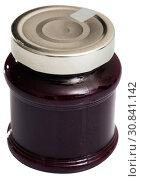 Купить «Blueberry jam in glass jar», фото № 30841142, снято 15 октября 2019 г. (c) Яков Филимонов / Фотобанк Лори