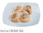 Купить «Vegan cinnabon rolls with topping», фото № 30841162, снято 15 декабря 2019 г. (c) Яков Филимонов / Фотобанк Лори