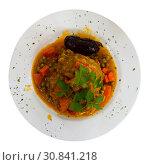 Купить «Plate with braised pork cheek served with carrots and greens», фото № 30841218, снято 20 июня 2019 г. (c) Яков Филимонов / Фотобанк Лори