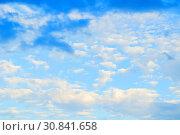 Купить «Dramatic sky background with colorful clouds - sky panoramic view», фото № 30841658, снято 3 июня 2015 г. (c) Зезелина Марина / Фотобанк Лори