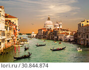 Venice, the Grand canal, the Cathedral of Santa Maria della Salute and gondolas with tourists, top view (2017 год). Стоковое фото, фотограф Наталья Волкова / Фотобанк Лори