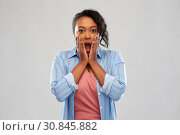 Купить «shocked african american woman with open mouth», фото № 30845882, снято 2 марта 2019 г. (c) Syda Productions / Фотобанк Лори