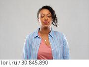 Купить «african american woman waiting for kiss», фото № 30845890, снято 2 марта 2019 г. (c) Syda Productions / Фотобанк Лори