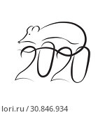 Купить «New Year of the Rat on the Eastern Astrological Calendar and the numbers 2020. Drawing the symbol of the zodiac rat sketch black and white», иллюстрация № 30846934 (c) Светлана Евграфова / Фотобанк Лори
