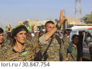 Купить «SYRIA / IRAQ -- circa 2016 -- Kurdish YPG fighters on the frontline somewhere in northern Syria or Iraq circa 2017 -- Picture by Atlas Photo Archive.», фото № 30847754, снято 25 января 2015 г. (c) age Fotostock / Фотобанк Лори