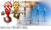 Купить «Производственный строительный  коллаж на фоне денег», фото № 30851662, снято 14 июля 2019 г. (c) Сергеев Валерий / Фотобанк Лори