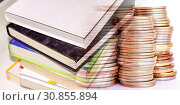 Купить «Книги и печатные издания на фоне денег», фото № 30855894, снято 1 августа 2019 г. (c) Сергеев Валерий / Фотобанк Лори