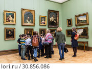 Купить «Visitors to the hall of famous Russian painter Orest Kiprensky in the Tretyakov gallery, Moscow, Russia», фото № 30856086, снято 20 марта 2018 г. (c) Наталья Волкова / Фотобанк Лори