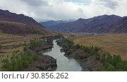 Купить «Flying on a drone along Teldykpen rapids on Altai river Katun near Oroktoi at cloudy day», видеоролик № 30856262, снято 26 мая 2019 г. (c) Serg Zastavkin / Фотобанк Лори