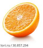 Купить «Half of orange citrus fruit on white», фото № 30857294, снято 25 мая 2019 г. (c) Роман Самохин / Фотобанк Лори