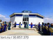 Купить «Открытие шаманского центра в Бурятии. Город Улан-Удэ. Храм «Тэнгэриин Ордон» («Дворец Неба»)», фото № 30857370, снято 26 мая 2019 г. (c) Валерий Митяшов / Фотобанк Лори