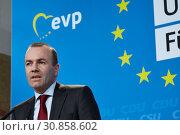 Купить «Berlin, Germany - Manfred Weber, Vice-Chairman of the CSU and Chairman of the EPP Group in the EU Parliament.», фото № 30858602, снято 25 марта 2019 г. (c) Caro Photoagency / Фотобанк Лори