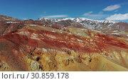 Купить «Mars. Geological formation near Kyzyl Chin river on mountain Altai.», видеоролик № 30859178, снято 27 мая 2019 г. (c) Serg Zastavkin / Фотобанк Лори