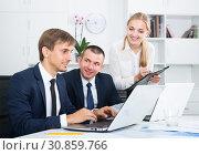 Купить «Two glad business male and woman in firm office», фото № 30859766, снято 31 мая 2020 г. (c) Яков Филимонов / Фотобанк Лори