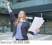 Купить «Professional woman in jacket working with documents», фото № 30859946, снято 6 мая 2017 г. (c) Яков Филимонов / Фотобанк Лори