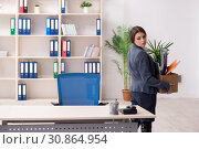 Dismissal and firing concept with woman employee. Стоковое фото, фотограф Elnur / Фотобанк Лори