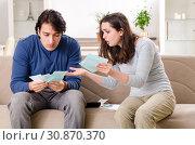 Купить «Young couple in budget planning concept», фото № 30870370, снято 22 января 2019 г. (c) Elnur / Фотобанк Лори