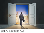 Businessman entering big large door. Стоковое фото, фотограф Elnur / Фотобанк Лори