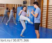 Купить «People practicing self defense techniques», фото № 30871366, снято 31 октября 2018 г. (c) Яков Филимонов / Фотобанк Лори