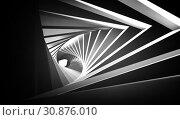 Купить «Abstract twisted black white tunnel», фото № 30876010, снято 19 июля 2019 г. (c) EugeneSergeev / Фотобанк Лори