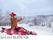Купить «teen girl on plaid in snow», фото № 30876126, снято 11 января 2019 г. (c) Майя Крученкова / Фотобанк Лори
