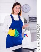 Купить «Female cleaner at work», фото № 30876354, снято 14 ноября 2019 г. (c) Яков Филимонов / Фотобанк Лори