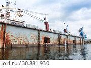 Купить «Old floating dry dock, Varna», фото № 30881930, снято 16 июля 2014 г. (c) EugeneSergeev / Фотобанк Лори