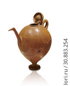 Terra cotta Hittite beaker shaped side spouted pitcher with lid - 1700 BC to 1500BC - Kültepe Kanesh - Museum of Anatolian Civilisations, Ankara, Turkey. Against a white background. (2019 год). Редакционное фото, фотограф Funkystock / age Fotostock / Фотобанк Лори