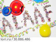 Alaaf, fastnacht, fasching, karneval, konfetti, bunt, brauch, närrisch, narren, narr, symbol,luftschlange, luftschlangen, luftballon, luftballons. Стоковое фото, фотограф Zoonar.com/Volker Rauch / easy Fotostock / Фотобанк Лори
